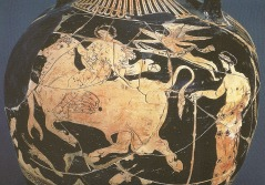 Zeus abducts Europa disguised as a bull