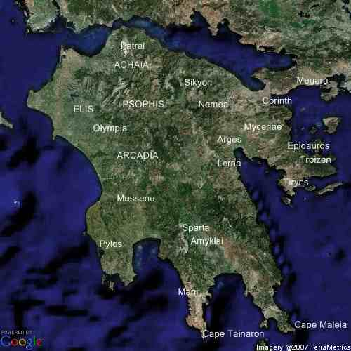 Map of ancient Greece Peloponnese