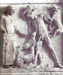 Artemis watches the death of Aktaion