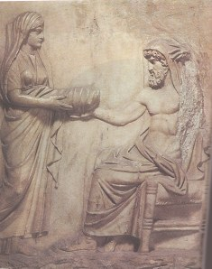 Rhea offers Cronus teh wrapped stone