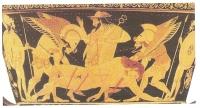 Hypnos and Thanatos carrying a dead warrior