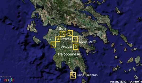 Map of labors of Hercules
