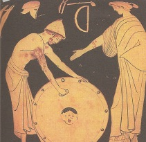 Achilles receiving his shield from Hephaestus