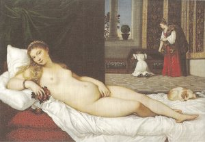 Aphrodite resting on her bed