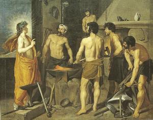 Apollo meets Hephaestus in his workshop