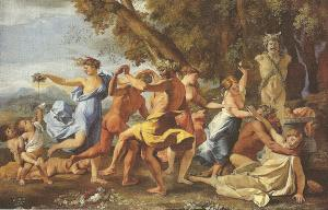 Dionysus celebration in front of statue of Pan
