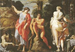Hercules facing dilemma whether to follow Vice or Virtue